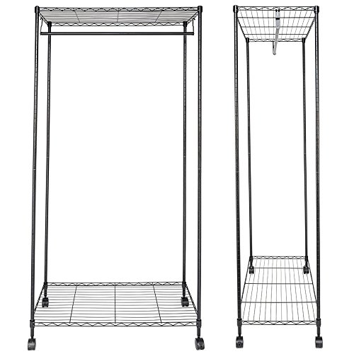 "Bonnlo Sturdy Rolling Shelving Garment Rack with 1 Hanger 2 Adjustable Shelves Clothes Rack for Closet Organizer Movable Wardrobe 35.4"" L x 17.7"" W x 71""H - Chrome"