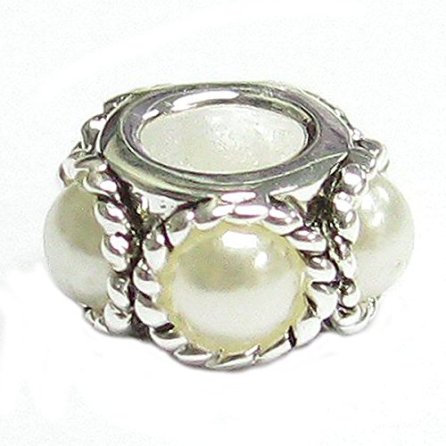 White Simulated Pearl Sterling Silver Twist Rope European Bead Charm (2mm)