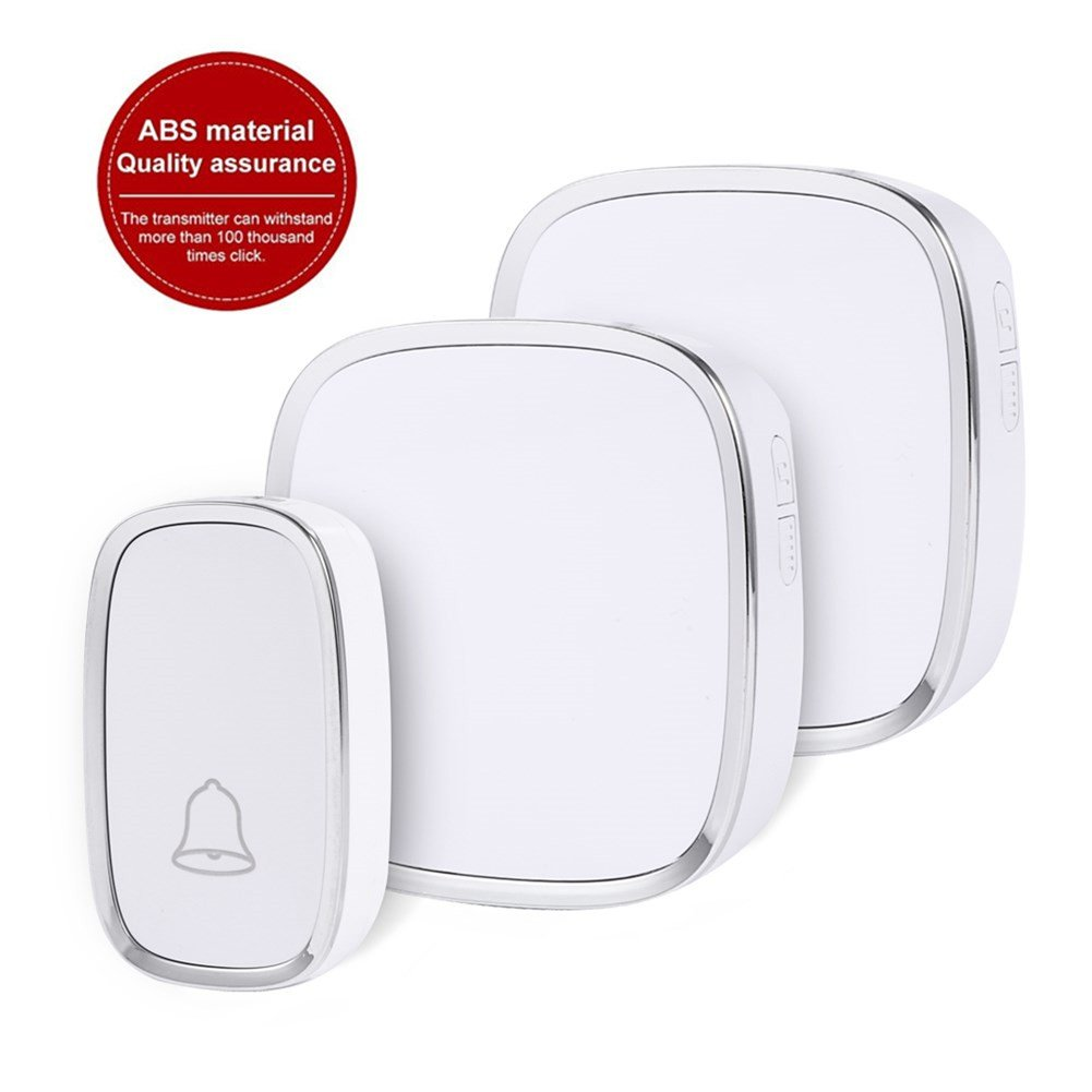 Wireless Doorbell, Foho Waterproof Long Range Doorbell Kit Operating at 1000 FT with 1 Receiver Plugin and 2 Remote Buttons, 4 Levels Volume, 36 Melodies to Choose - White