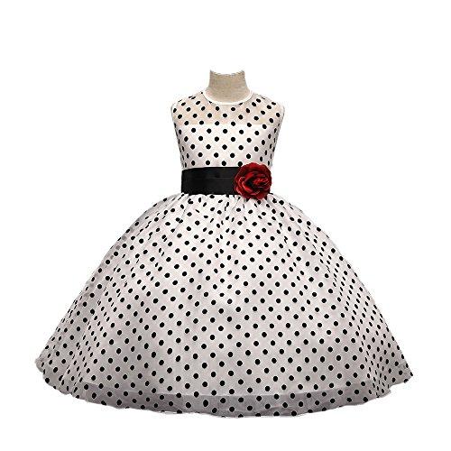 (Daily Proposal AFG2 Girl Black Polka Dot White Dress 3T-10 Multiple Color Optionsn USA (5-6 (120cm), White))