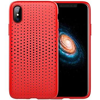 iPhone X/7/8/7 Plus/8 Plus Case Soft Silicone TPU Mesh Back Breathable Phone Case Ventilate Holes Mesh Design Dot Series Protection Case Heat Dissipation for iPhone Case Red for iPhone 7 Plus/8 Plus