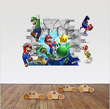 Adesivi Murali Super Mario.3d Super Mario Bros Removibile Adesivi Murali Decalcomania