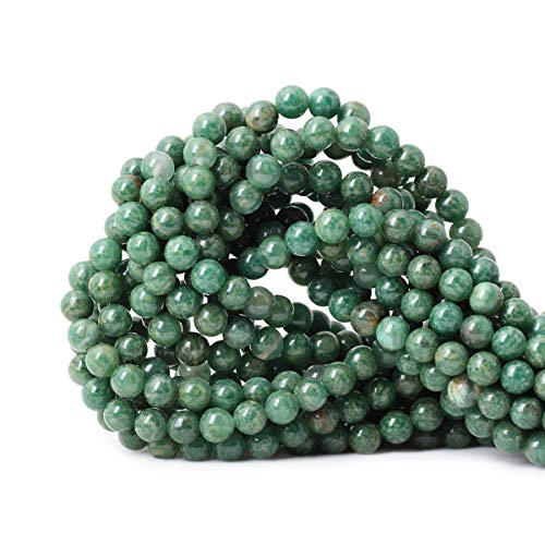 Qiwan 60PCS 6mm Natural African Jade Round Loose Stone Beads for Bracelet Necklace Earrings Jewelry Making Crafts Design Healing 1 Strand 15