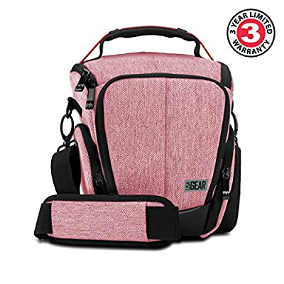 USA Gear Camera Case for Digital SLR with Soft Cushioned Interior, Zippered Accessory Pockets, Adjustable Carry Strap for Nikon D3300 / D3400 / D5500, Canon Rebel T6 / T6i / T5 / T5i & More