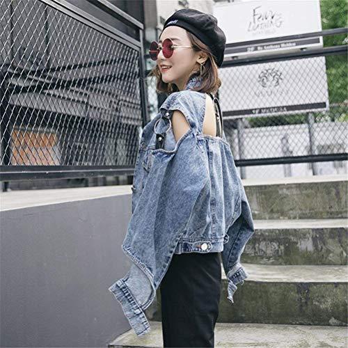Puro Colore Tasche Bavero Hipster Blau Fashion Cappotto Casuale Outerwear Fit Women Manica Vintage Autunno Donna Button Jeans Giovane Giacche Lunga Slim Primaverile Con Giacca Elegante Cavo Giaccone Corto zRxvfT