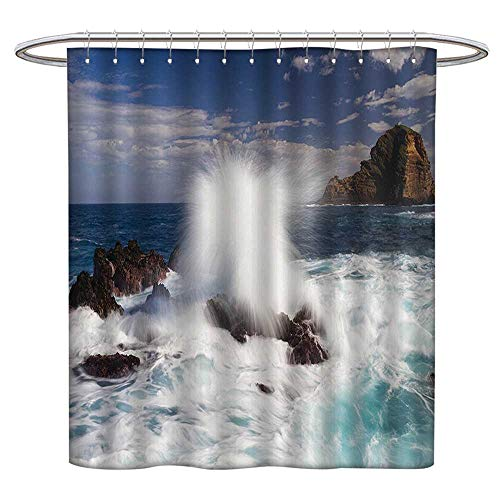 Jiahonghome Waterproof Mold Shower Curtain Giant Wav Rocks in South Portugal Coastline Picture Blue Brown Non Toxic Eco-Friendly No Chemical Odor W 55 x L 72 INCH