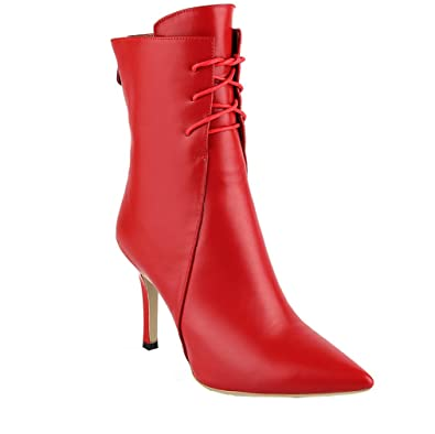 Womens Abaaj Pointed-Toe 8.5CM Zipper Boots Shoes Red 4 US