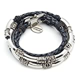 Lizzy James Mini Maxi Silver Plated 2 Strand Braided Leather Wrap Bracelet in Natural Pacific Blue Leather (LARGE)
