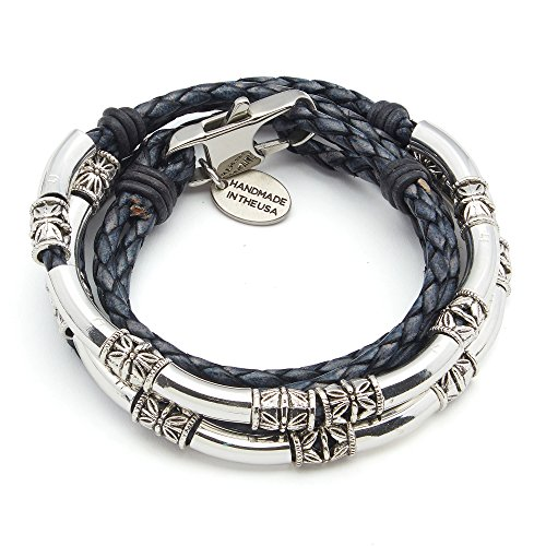 Lizzy James Mini Maxi Silver Plated 2 Strand Braided Leather Wrap Bracelet in Natural Pacific Blue Leather - Silver Necklace Leather Plated