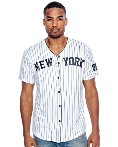 True Rock Men's New York Pinstripe Baseball Jersey-White/Blue-Small