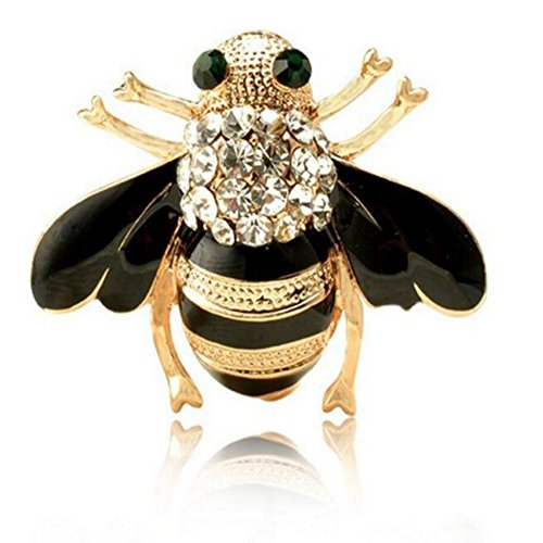 te Enamel Crystal Rhinestones Insect Themed Bee Brooch Pin In a Gift Box for Women's Clothing Scarf Decor ()