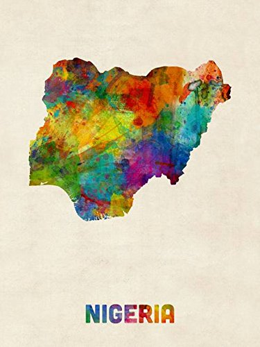 Wall Art Print entitled Nigeria Watercolor Map by Michael To