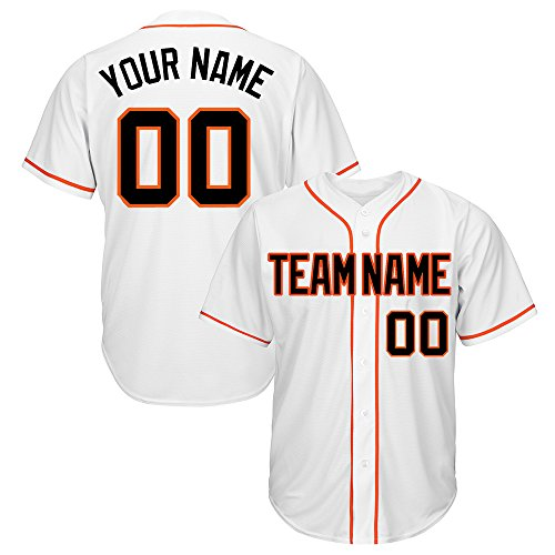 Custom Women's White Mesh Baseball Jersey with Embroidered Team Name Player Name and Numbers,Black-Orange Size L