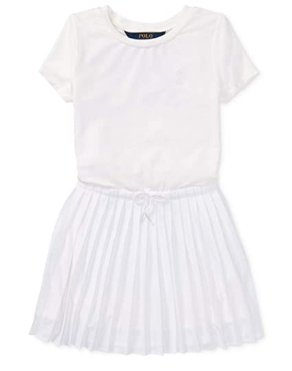 70dd123e0 Image Unavailable. Image not available for. Color: RALPH LAUREN Girls  Pleated Polo Dress ...