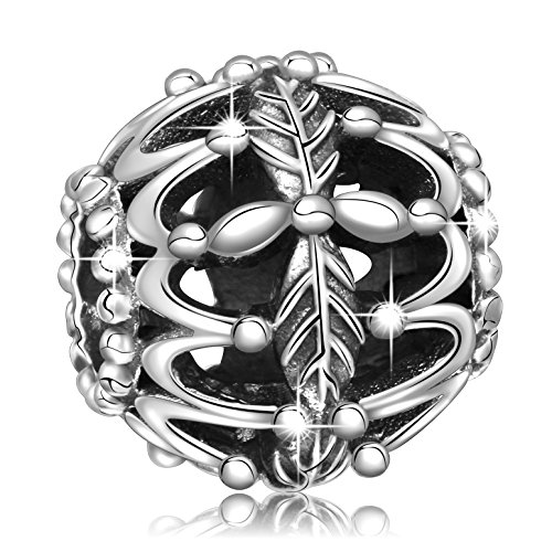 Sterling Silver Floating Heart Bracelet - Angemiel 925 Sterling Silver Leaves Crown Vintage Charms Bead for European Snake Chain Bracelets