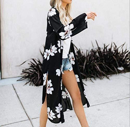 Motif Manches Vintage Femme Plage Tunique Fashion Fleur Loisir Kimono Ar Bouffant Elgante Mousseline Cardigan Basic Blouse Tops Longues Vetement Mince Schwarz Longues 8wISqx