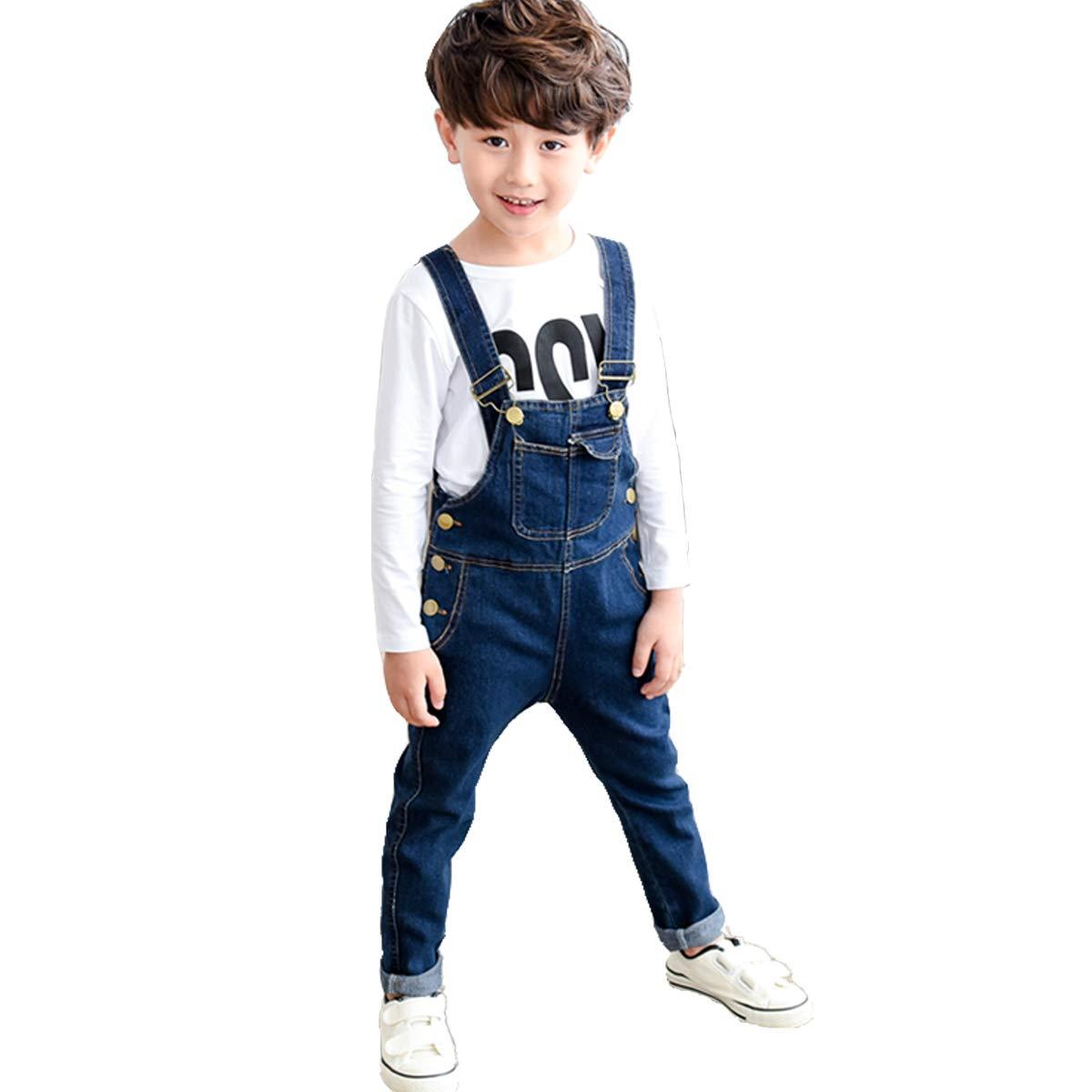 OnlyAngel Boys' Suspender Jeans Adjustable Straps Cotton Denim Overalls Age 4-13 (7-8 Years, Blue)