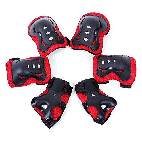 Kid's Adjustable Sports Protective Gear Set Knee Pads Elbow Pads Wrist Guards for Skating Cycling Outdoor Sports as Birthday, Christmas Gift (red)