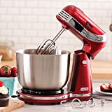 Dash Stand Mixer (Electric Mixer for Everyday Use): 6 Speed Stand Mixer with 3 qt Stainless Steel Mixing Bowl, Dough Hooks & Mixer Beaters for Dressings, Frosting, Meringues & More - Red