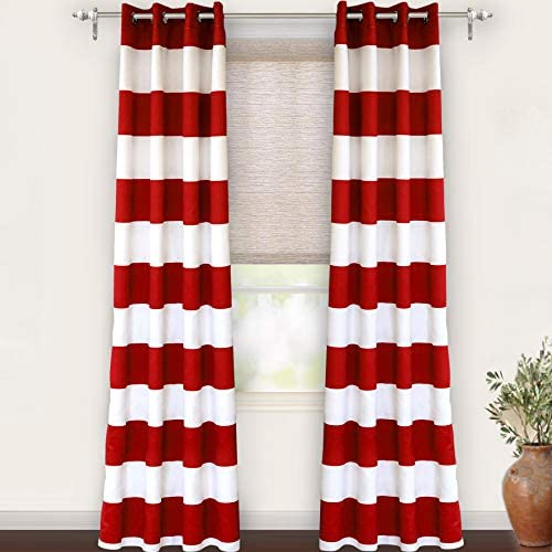 DriftAway Mia Stripe Room Darkening Grommet Unlined Window Curtains 2 Panels Each 52 Inch