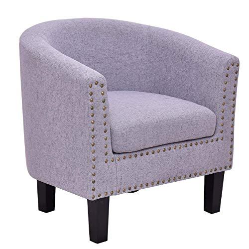 Casart Sofa Chair Modern Tub Barrel Club Seat Arm Chair Accent Fabric Nailhead w/Cushion ()
