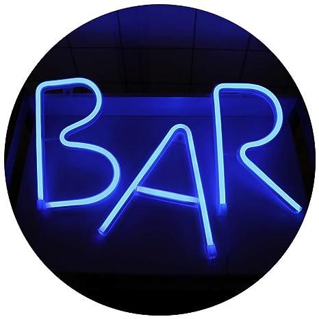 Bar - Cartel de neón iluminado con luz LED y letrero de ...