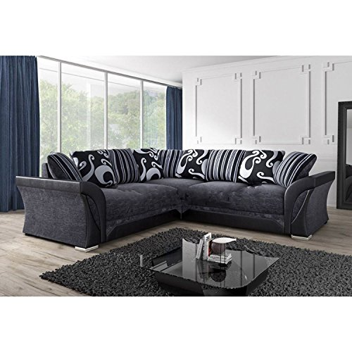 FARROW Chenille Fabric Corner Sofa, 2+3 Seater, Swivel Chair in Black &...