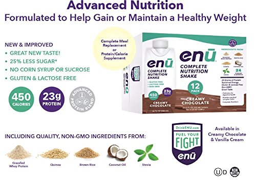 ENU Nutrition Shakes, 23g Protein / 450 Calories, Meal Replacement for Weight Gain (Creamy Chocolate, 12 Pack, 11oz)
