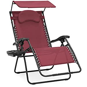 Best Choice Products Oversized Zero Gravity Reclining Lounge Patio Chairs w/Folding Canopy Shade and Cup Holder (Red)