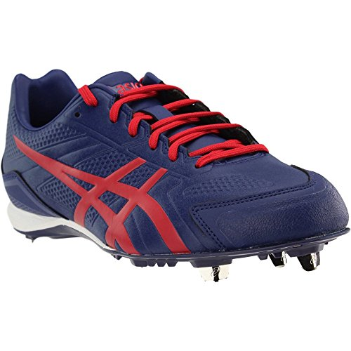 ASICS Men's Base Burner Baseball Shoe, Indigo Blue/Racing Red/White, 10 M US