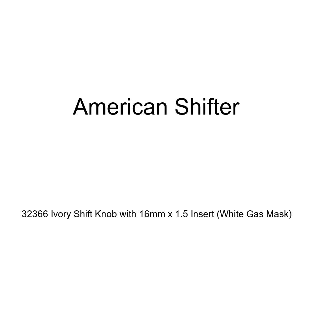 American Shifter 32366 Ivory Shift Knob with 16mm x 1.5 Insert White Gas Mask