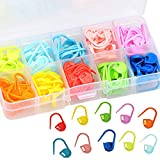 wotu 120 Pcs Locking Stitch Markers, Knitting Crochet Counter Stitch Needle Clip Multi-Colored with Compartment Box