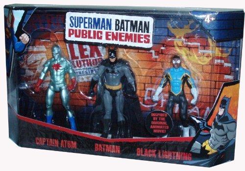 DC Comics Superman Batman Public Enemies Series 3 Pack 4 Inch Tall Action Figure Set - Captain Atom Batman and Black
