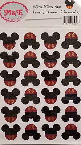 Glitter Gold & Pink Minnie Head and Bow Stickers for Minnie Mouse Birthday Party Decoration, Mickey or Minnie (1 Sheet)(Total 24 Heads 2 inches Wide Each), Minnie Birthday, (Mickey Head) -