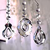 H&D 63mm Clear Crystal Chandelier Prisms Teardrop Glass Pendants Beads Loquat Violin Oval Shape Crystal Pendant,pack of 3
