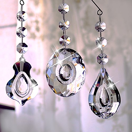 H&D HYALINE & DORA 63mm Clear Crystal Chandelier Prisms Teardrop Glass Pendants Beads Loquat Violin Oval Shape Crystal Pendant,Pack of 3 -