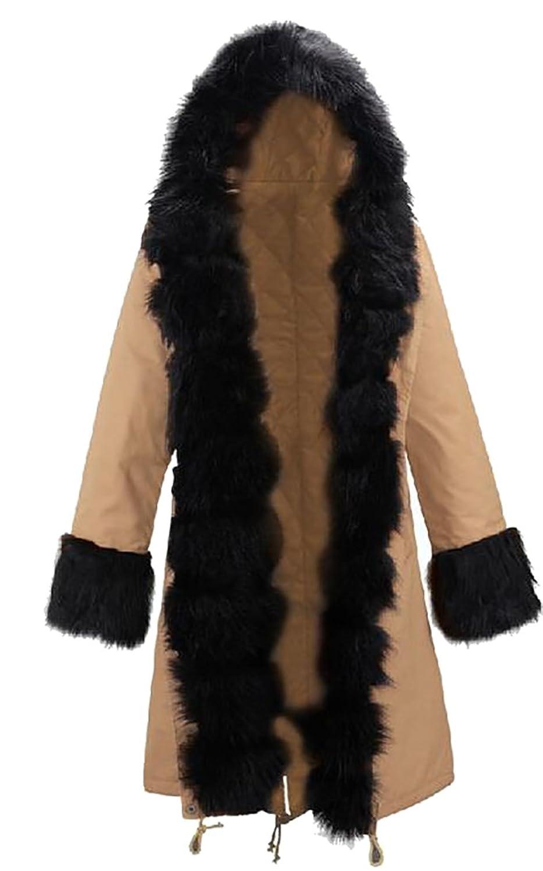 e4f62f54fe8 ouxiuli Womens Thicken Warm Winter Coat Hood Parka Overcoat Long Jacket  Outwear at Amazon Women s Coats Shop