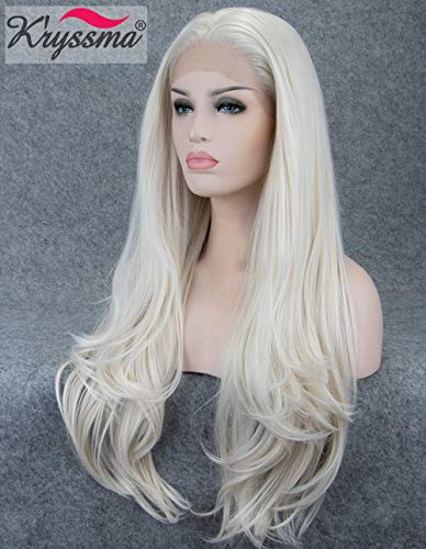 (K'ryssma Fashion Platinum Blonde Synthetic Lace Front Wigs For White Women #60 Long Natural Wavy Half Hand Tied Gluelss Synthetic Replacement Full Wig Heat Resistant 26 Inch)