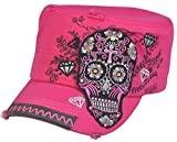 All Products : Day of Dead Sugar Skull Cross Flowers Rhinestone Fashion Cadet Army Style Hot Pink