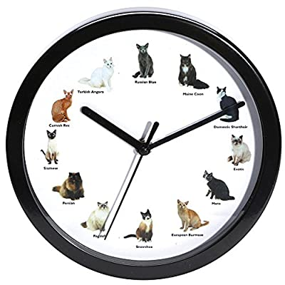 Meowing Cat Wall Clock - Turn Sound Off Or On