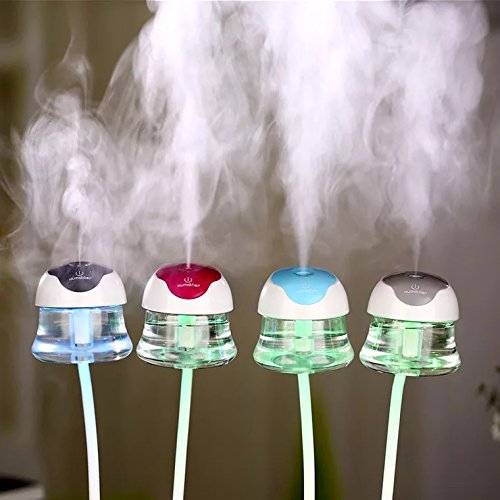 Mini USB Mist Humidifier Car Diffuser Ultrasonic Air Refresher 7 Color LED Lights Changing Suitable For Car, Home, Office, Study, Yoga Spa. … (Blue)