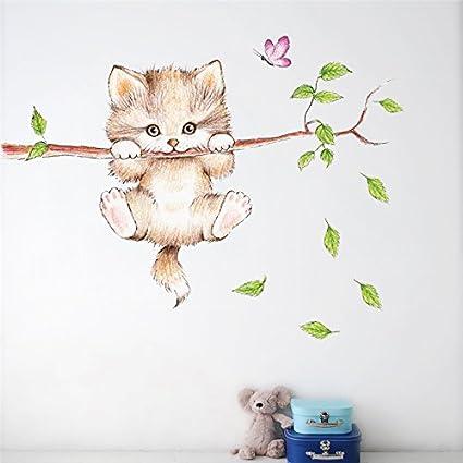 Pegatina pared puerta vinilo decorativo gatito en apuros para ...