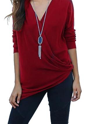 WmcyWell Women's Sexy Deep V-Neck Long Sleeve T-Shirt Irregular Blouse Tops 12, Dark Red