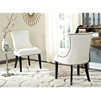 Lester Wooden Modern Upholstered En Vogue Nailhead Dining White Side Chairs - Set of 2