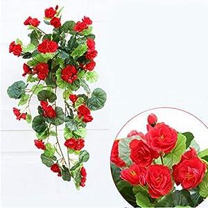 Artificial Silk Begonia Flowers Vine Hanging Plant Vine DIY for Home Wedding Decoration Hanging Garland D¨¦cor 1pc 5