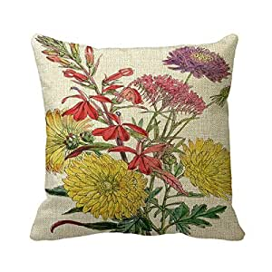 "Retro 16""X 16"" (Twin Sides) Pillowcase Cushion Cover Fall Flower Holiday Throw Pillow Square Decorative Throw Pillow Cover"