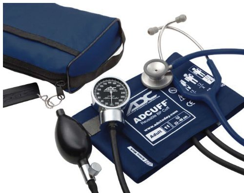 (ADC Pro's Combo III Adult Pocket Aneroid/Clinician Scope Kit with Prosphyg 778 Blood Pressure Sphygmomanometer and Adscope 603 Stethoscope with Carrying Case, Navy)