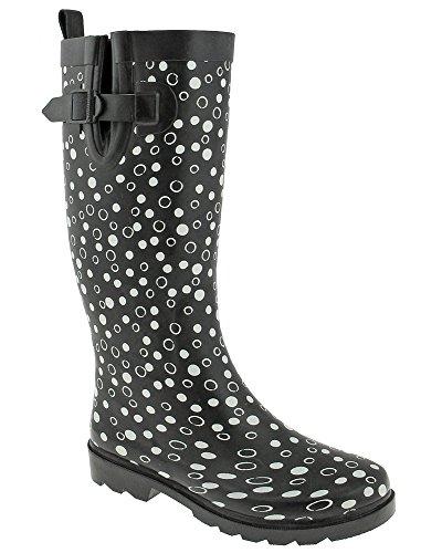 Capelli New York Damer Strö Dot Print Lång Regn Boot Black Combo