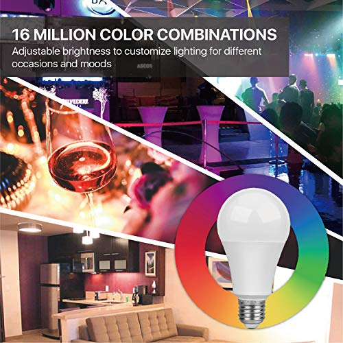 TNP Smart WiFi LED Light Bulb - Wireless Multicolored Home Automation Lighting Support Amazon Echo Alexa Google Home iPhone & Android Smartphone Remote Control Wake Up Timer Dimmable 7W RGB E27 600lm by TNP Products (Image #3)