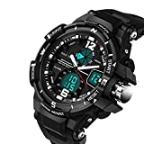 Huangtaii 30M Waterproof Dual Display LED Sports Military Watches Men's Analog Quartz Digital Watch #Ddyl-1